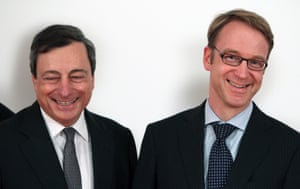 Mario Draghi, President of the European Central Bank, ECB (L), and Jens Weidmann, President of the Bundesbank are pictured during the awarding ceremony of the Generation Euro Student's Award in Frankfurt/Main, Germany, on April 17, 2013.