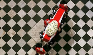 Lady Thatcher's coffin arrives for the ceremonial funeral at St Paul's Cathedral