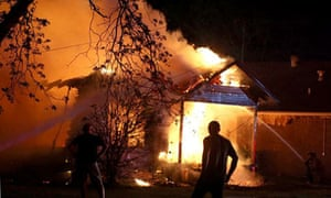 A house on fire after the explosion in West, Texas
