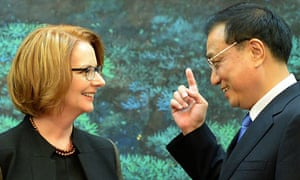Julia Gillard and Li Keqiang in Beijing