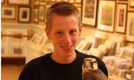 James Dickinson reunited with his falcon, Nekala.