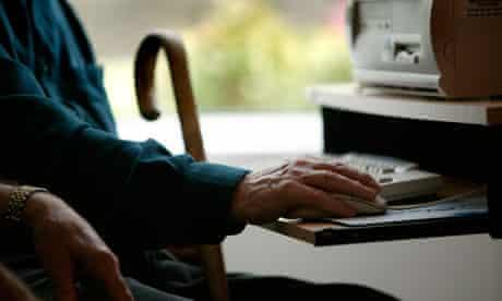 Elderly person using computer