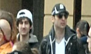 An image released on 19 April 2013 by the FBI showing two suspects in the Boston Marathon bombing.