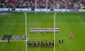 Aerial view of New Zealand rugby team performing the haka