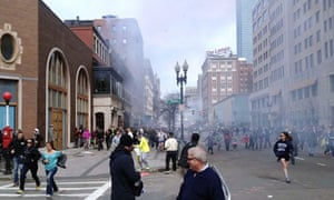 This image of the Boston Marathon bombing seems to show Suspect Two on the left after the attack.