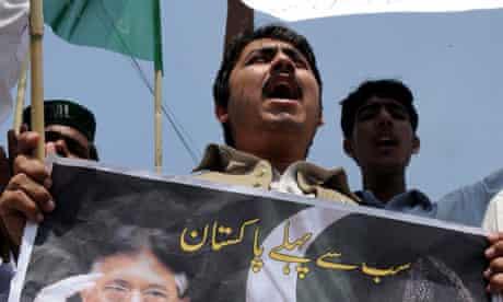 Supporters of former Pakistani president Pervez Musharraf protest
