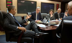 """US president Barack Obama with members of his national security team, discussing developments in the Boston bombings investigation in the Situation Room of the White House, April 19, 2013. (L-R) FBI Director Robert Mueller, Assistant to the President for Homeland Security and Counterterrorism Lisa Monaco, Attorney General Eric Holder, Deputy National Security Advisor Tony Blinken and Vice President Joe Biden.   == RESTRICTED TO EDITORIAL USE / MANDATORY CREDIT: """"AFP PHOTO / THE WHITE HOUSE / Pete SOUZA / NO SALES / NO MARKETING / NO ADVERTISING CAMPAIGNS / DISTRIBUTED AS A SERVICE TO CLIENTS ==Pete SOUZA/AFP/Getty Images"""