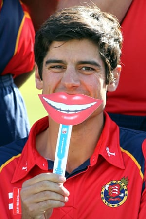Behind a painted smile - England Captain Alastair Cook keeps up appearances during his county side's photocall in Chelmsford.