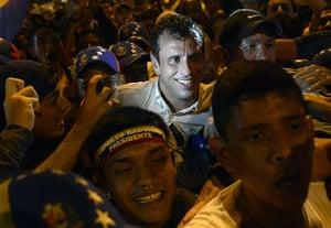 24 hours in pictures: Caracas Venezuela: Venezuelan opposition candidateHenrique Capriles Radonsk