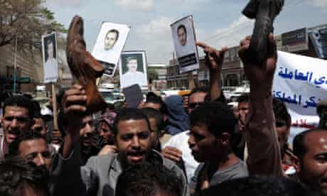 Protesters against Saudi treatment of Yemeni workers, outside the Saudi embassy in Sana'a 2/4/13