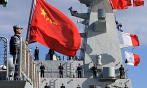 Chinese sailors stand on a frigate at the habour of Algiers, Algeria. The 13th naval escort squad, sent by the Chinese People's Liberation Army (PLA) Navy, arrived in Algiers today for a four-day visit.