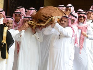 The body of Saudi Arabia's Prince Badr bin Abdul Aziz, former deputy commander of the National Guard is carried during his funeral at Imam Turki bin Abdullah Mosque in Riyadh.