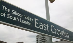 Sign post showing East Croydon Silicon Valley of south London