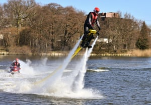 I want one of those: A Water Jet Pack is displayed at the Gadget Show Live 2013 at NEC Birmingham in Birmingham, England. Photograph: Jules Annan/Barcroft Media