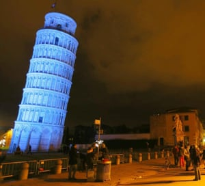 The Tower of Pisa is lighted in blue to mark the sixth annual World Autism Awareness Day in Pisa, Italy. Photograph: Franco Silvi/EPA