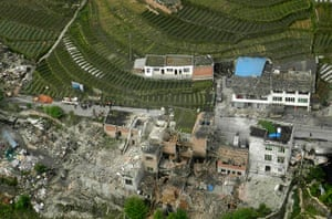 China: An aerial view shows houses damaged after an earthquake