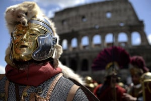 The birth of Rome: Men belonging to historical groups march dressed as ancient Romans