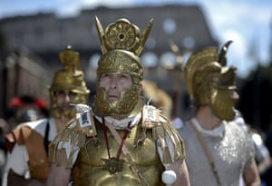 The birth of Rome: Men belonging to historical groups dress