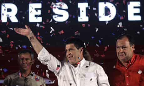 Horacio Cartes celebrations his victory in the Paraguayan presidential election