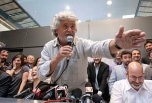 Leader of the 5 Star Movement Beppe Grillo speaks during a press conference in Rome, Sunday, April 21, 2013.