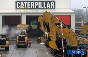 A parking lot at Caterpillar Belgium, in Gosselies, Belgium.