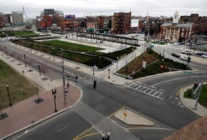 Boston bombings timeline: The deserted streets around the Rose Kennedy Greenway in Boston