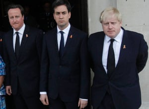 David Cameron, Ed Miliband and Boris Johnson pose for a photograph after the service to mark the  20th anniversary of the murder of Stephen Lawrence, at St Martin-in-the-Fields church in London.