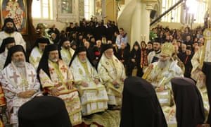 Syrian Bishop Boulos Yaziji (seated left) head of the Greek Orthodox church in Aleppo, during the enthronement in Damascus of his brother Yuhanna X Yazigi (seated right) as the Patriarch of Antioch. An armed group in Aleppo province kidnapped two bishops including Bishop Boulos and Bishop Yuhanna Ibrahim, head of the Syriac Orthodox Church in Aleppo, according to state media.