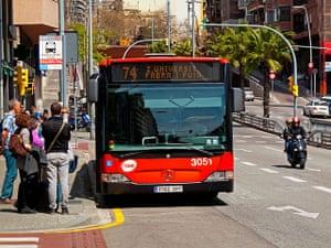 Smart Cities Gallery 1: Smart Cities: Mercedes Benz bus at bus stop in Barcelona