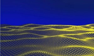"""An artistic impression released by the University of Manchester of a corrugated graphene sheet. The British university where Andre Geim and Konstantin Novoselov conducted their pioneering work on graphene said it was """"delighted"""" that they were awarded the Nobel Physics Prize on October 5, 2010"""