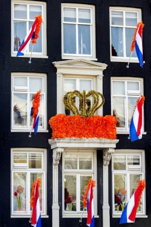 A house in the centre of Amsterdam, decorated for the abdication of Dutch Queen Beatrix and investiture of Prince Willem Alexander as King on 30 April.