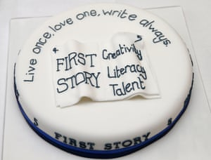 The First Story cake on display at a tea party to celebrate the 5th Anniversary of the charity 'First Story' in London. First Story strives to support and inspire creativity in UK secondary schools. The charity was launched in 2008 by former school teacher Katie Waldegrave.
