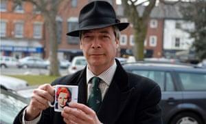Nigel Farage with Thatcher mug