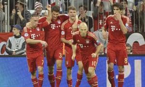Bayern Munich's players celebrate their opener