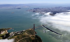 Is it a bird? No. Is it a plane? Yes, it's the sun-powered The Solar Impulse gliding over the Golden Gate Bridge in San Francisco during a successful test flight. It's preparing for a journey around the world, scheduled to begin on May 1.