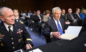 US Defence Secretary Chuck Hagel and Joint Chiefs Chairman General Martin Dempsey appearing before the Senate Armed Services Committee.