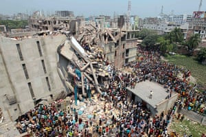Building collapse: A collapsed building in Bangladesh