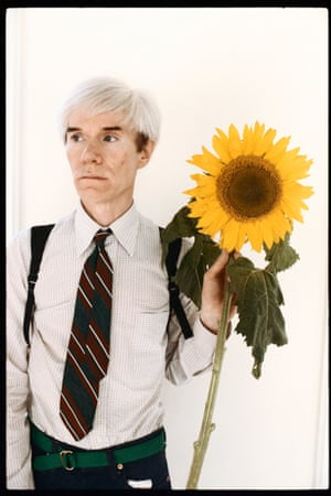 That's better - a proper photograph. It's from a series of recently discovered portraits of Andy Warhol by photographer Steve Wood. The images are shown in 'Lost Then Found', which opens on May 3 for 10 days in Manhattan, and features unusual shots including Warhol posing with a giant sunflower and backpack, or variously winking, with eyes closed and in close-up head shots.