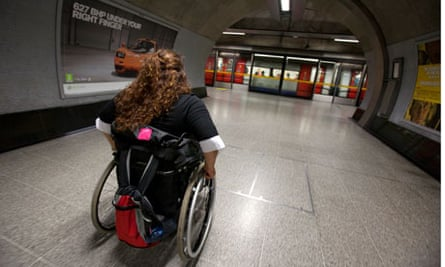 Wheelchair user on London Undergound