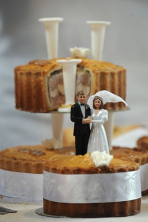 Now this is what I've been waiting for. It's the British Pie Awards at St Marys Church in Melton Mowbray today. The pictures are just dropping. I will bring you more as they land. Here is a magnificent pork and chicken wedding pie. Why didn't I think of that!