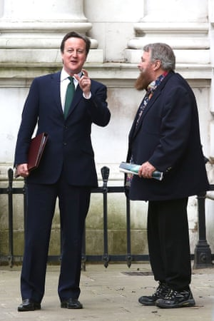 Actor Brian Blessed has dressed up for his meeting with British Prime Minister David Cameron. Blessed and fellow celebrities were at 10 Downing Street in support of greater transparency on animal research on behalf of National Anti-Vivisection Society on 'World Day for Laboratory Animals'.
