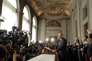 Enrico Letta (C-R), the deputy leader of the centre-left Democratic Party (PD), talks to journalists after being given a mandate to form a new government from Italian President Giorgio Napolitano, Rome, Italy, 24 April 2013.