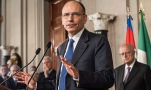 Italian leftist Enrico Letta gestures as he talks to the press after being appointed by President Giorgio Napolitano to form a new government at Palazzo del Quirinale on April 24, 2013 in Rome, Italy.
