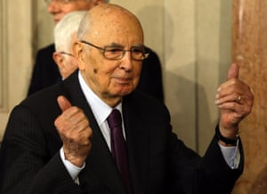 Italian President Giorgio Napolitano greets journalists after meeting with Democratic Party lawmaker Enrico Letta, in Rome's Quirinale presidential palace, Wednesday, April 24, 2013. I