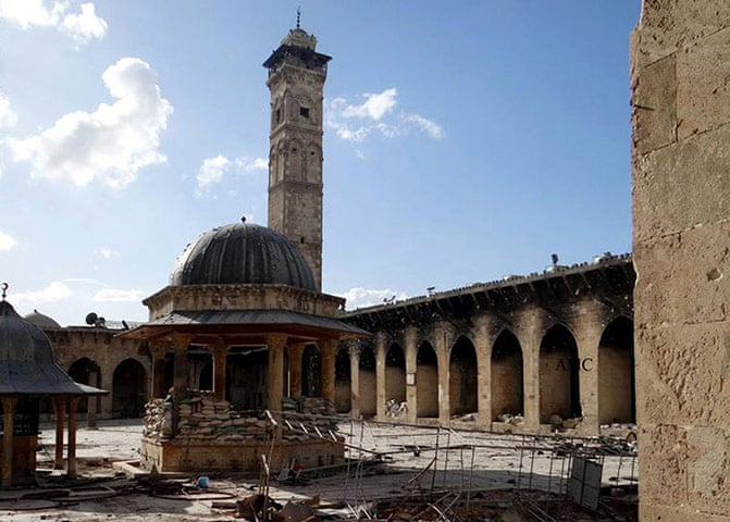 Syria: Aleppo's Umayyad mosque destroyed - in pictures