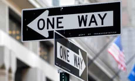 One Way signs in Manhattan, New York City America USA