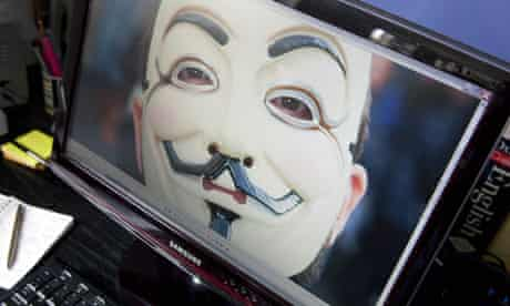 Anonymous mask on computer screen
