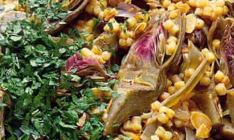 Yotam Ottolenghi's fregola and artichoke pilaf