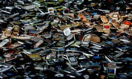 A pile of mobile phone