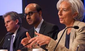 IMF members Christine Lagarde, Tharman Shanmugaratnam and David Lipton (left). Photograph: Stephen Jaffe/Getty Images